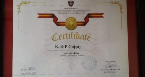 Kolë Gojçaj, veteran i UÇK-së
